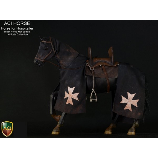 ACIH01 Horse for Hospitaller-Black with saddle (1:6)