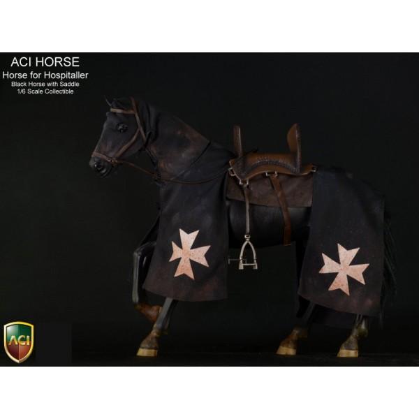 ACIH01 Horse for Hospitaller-Black with saddle (1:6)